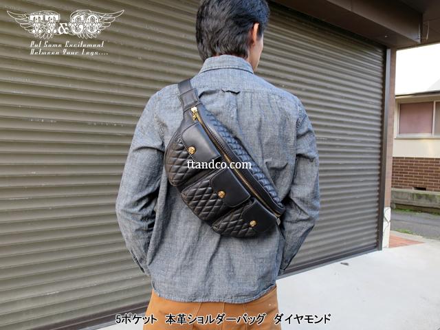 TT&CO. 5 Pocket Shoulder Bag Diamond Genuine Leather
