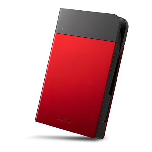 バッファロー ICカード対応MILスペック耐衝撃ボディー防滴・防塵ポータブルHDD 2TB レッド