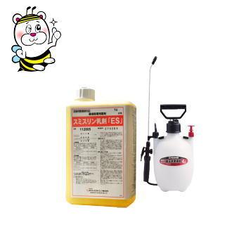ノミ・ゴキブリ駆除 殺虫剤 スミスリン乳剤ES 1L 4L噴霧器セット