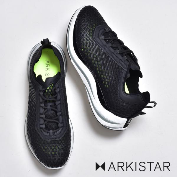 アーキスター スニーカー メンズ ブランド ARKISTAR 黒 白 ブラック ホワイト カジュアルシューズ レースアップ リフレクティブ メッシュ 通気 厚底 軽量 歩きやすい ダッドシューズ ダッドスニーカー ハイテクスニーカー イタリア おしゃれ 靴 シューズ グレー 2020 春 夏