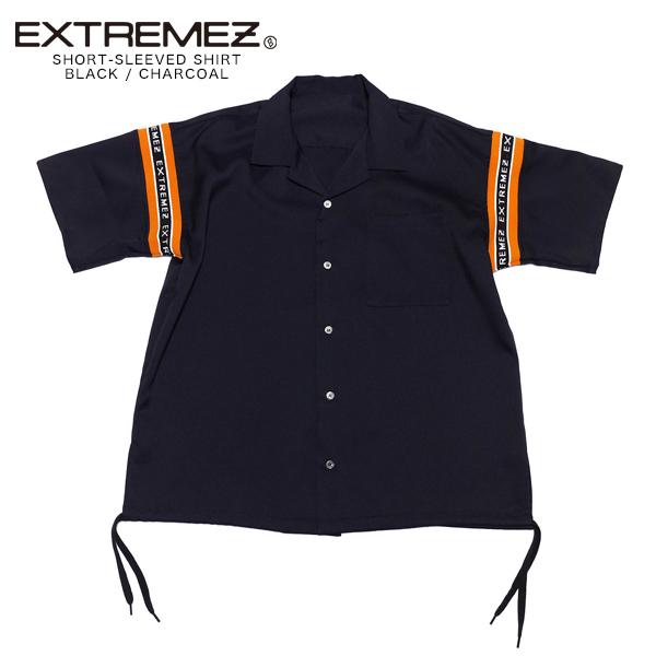 EXTREMEZ エクストリームズ ブランド シャツ レディース メンズ おしゃれ カジュアル 半袖 オシャレ オープンカラーシャツ ロゴ ロゴテープ リブ ゆったり 韓国 オーバーサイズ 可愛い かわいい トップス 服 ブラック 黒 チャコール フリーサイズ 2020 春 夏