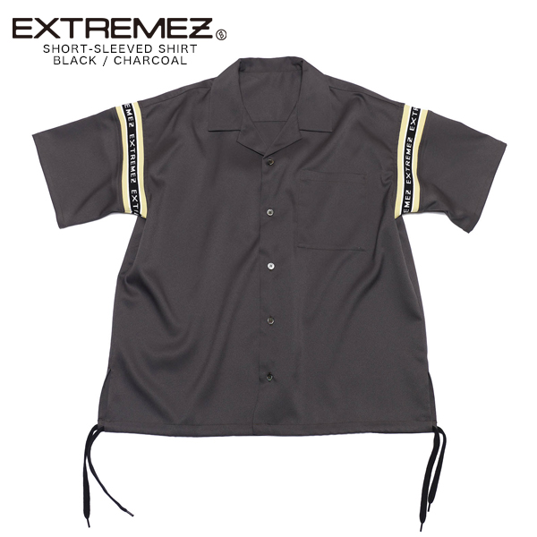 EXTREMEZ エクストリームズ ブランド シャツ メンズ レディース おしゃれ カジュアル 半袖 オシャレ オープンカラーシャツ ロゴ ロゴテープ リブ ゆったり 韓国 オーバーサイズ 可愛い かわいい トップス 服 ブラック 黒 チャコール フリーサイズ 2020 春 夏