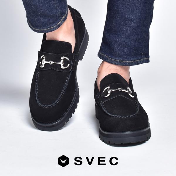 ブランド SVEC シュベック ビットローファー メンズ おしゃれ ローファー 厚底 モカシン スリッポン カジュアルシューズ 革靴 スーパーセール期間限定 短靴 スエード 黒 靴 ブラック 2021 短ぐつ 公式 春夏 シューズ 夏 男性の スウェード 春