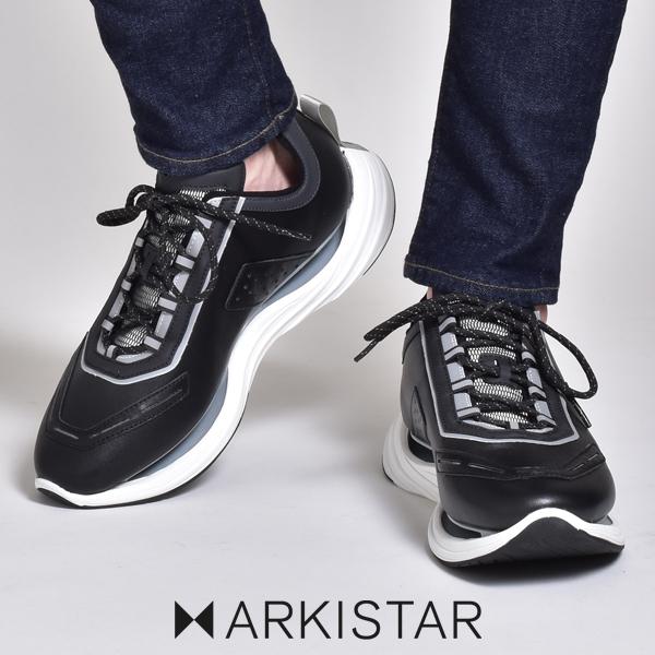 アーキスター スニーカー メンズ ブランド ARKISTAR 黒 白 ブラック ホワイト レザー 本革 革靴 皮靴 カジュアルシューズ レースアップ 厚底 軽量 歩きやすい ダッドシューズ ダッドスニーカー ハイテクスニーカー イタリア ローカット おしゃれ 靴 シューズ 2020 春 夏