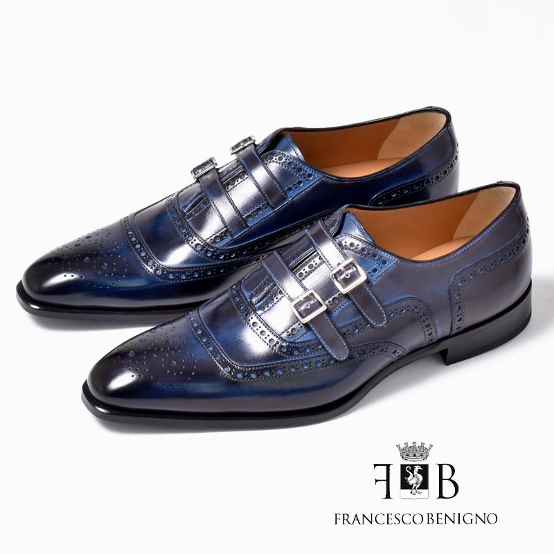 フランチェスコベニーニョ 革靴 FRANCESCO BENIGNO ビジネスシューズ メンズ 本革 レザーシューズ スリッポン 紐靴 G3799-CB31 ネイビー 紺 くつ メンズ 紳士靴 男性の クールビズ 新生活 2019 春 夏