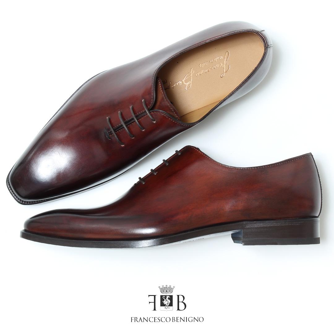 フランチェスコベニーニョ 革靴 FRANCESCO BENIGNO ブランド 革靴 ビジネス メンズ カジュアル 紐 ビジネスシューズ 本革 ホールカット ワンピース プレーントゥ 内羽根 レザー ドレスシューズ レースアップ 紐靴 ブラウン 茶 くつ 紳士靴 男性の 新生活 2019 春 夏