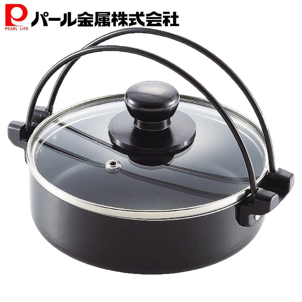 パール金属 コンパクト ふっ素加工 IH対応 ガラス蓋 安心の実績 高価 買取 強化中 HB-3361 予約販売 付 18cm すきやき鍋