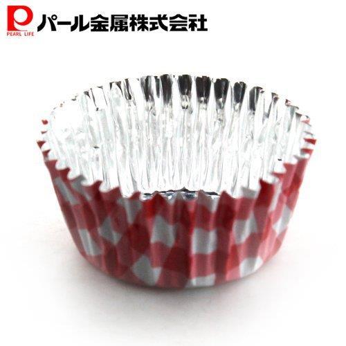 アンテノア アルミ箔チョコレートモールド丸型(レッドチェック)(10枚入)(D-3515) パール金属
