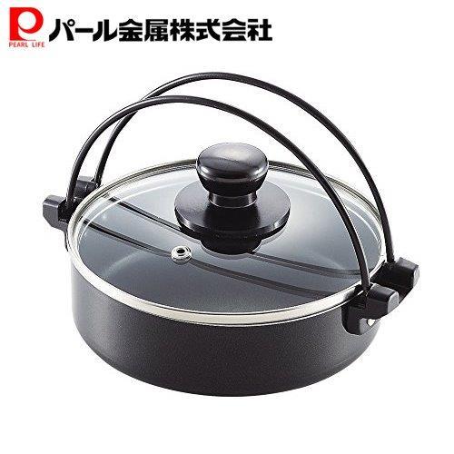 本日限定 パール金属 コンパクト ふっ素加工 IH対応 ガラス すきやき鍋 16cm 割引 HB-2186 蓋 付
