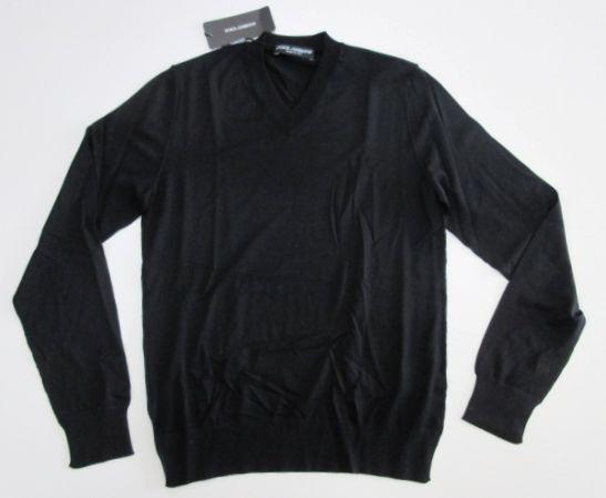 メンズ ドルチェ&ガッバーナ Vネック ヴァージンウール セーター ブラック 46