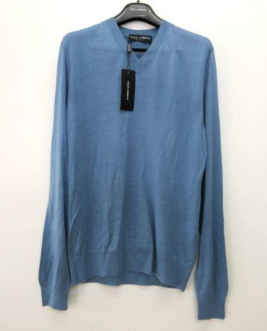 メンズ ドルチェ&ガッバーナ シルク Vネック セーター ブルー 52