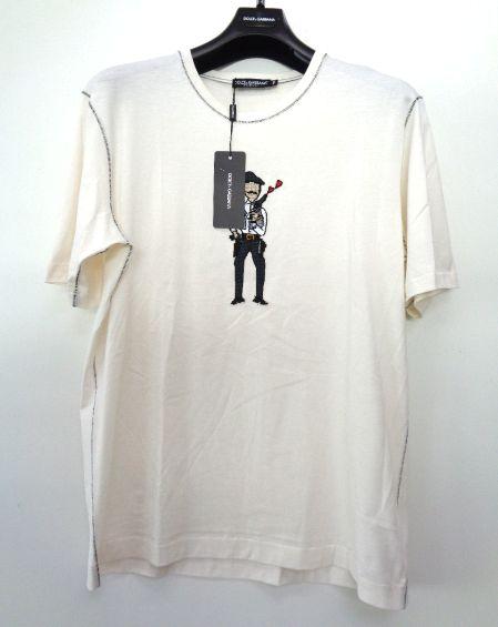 メンズ ドルチェ&ガッバーナ 刺繍 アップリケ Tシャツ オフホワイト 54