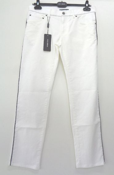 メンズ ドルチェ&ガッバーナ 刺繍 ジーンズ ホワイト 48