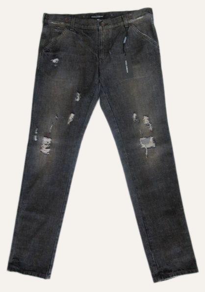 メンズ ドルチェ&ガッバーナ ストレート ダメージジーンズ ブラック 50
