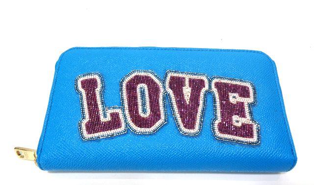 新品 ドルチェ&ガッバーナ ラウンドファスナー長財布 ドルガバプレート ビーズ ブルー×レッド【あす楽対応_関東】