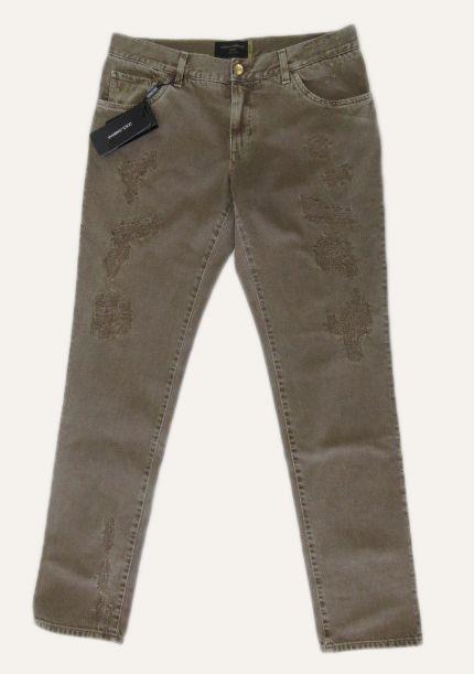 メンズ ドルチェ&ガッバーナ ストレート ダメージジーンズ ドルガバプレート GOLD ブラウン50