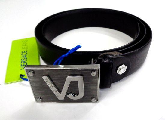 メンズ ヴェルサーチ レザー ベルト ブラック ロゴ 95