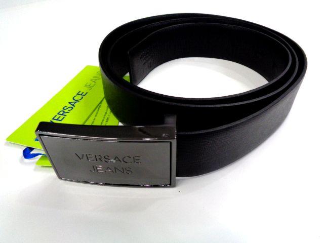 メンズ ヴェルサーチ レザー ベルト ブラック プレート 110