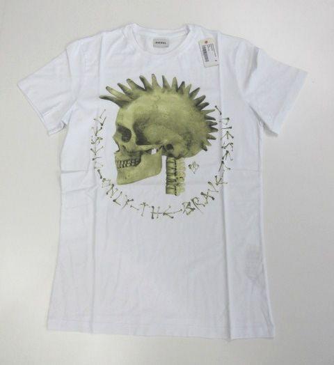 特別価格 情熱セール 男女兼用 DIESEL Men's Tシャツ メンズ ディーゼル M ドクロ プリントT ホワイト