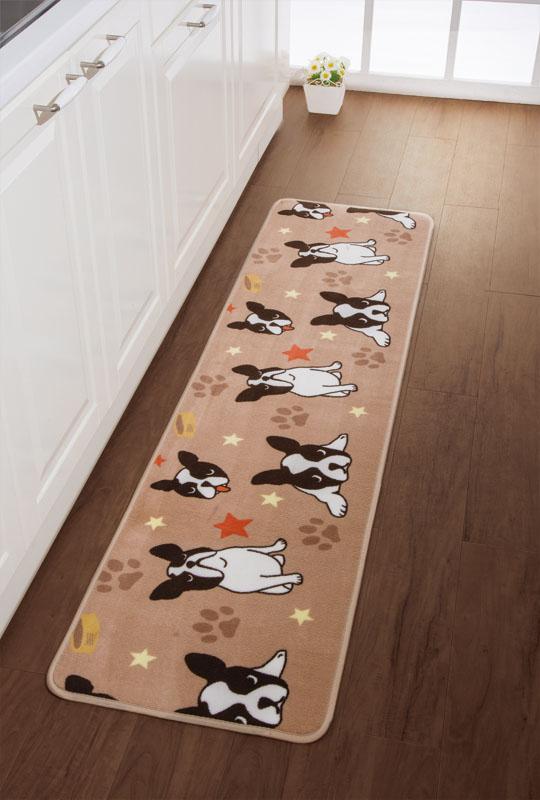 ブサカワわんこがキッチンをなごみの空間に!寒い冬場もわんこ達が足元を温めてくれます。 ふっくらキッチンマット フレンチブル180   犬 ドッグ かわいい ブラウン 茶色
