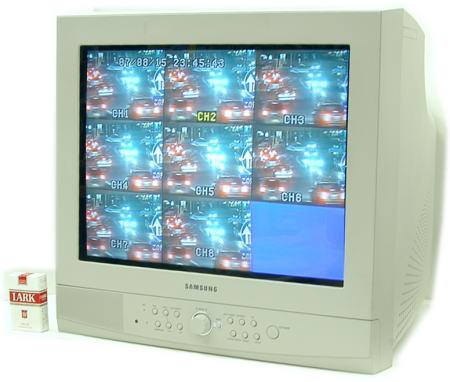 8CH入力 数量は多 分割機能内蔵 日本語メニュータイプ 人気 SA-49237 カラー21インチCRTモニター 8CH映像入力 監視カメラ用