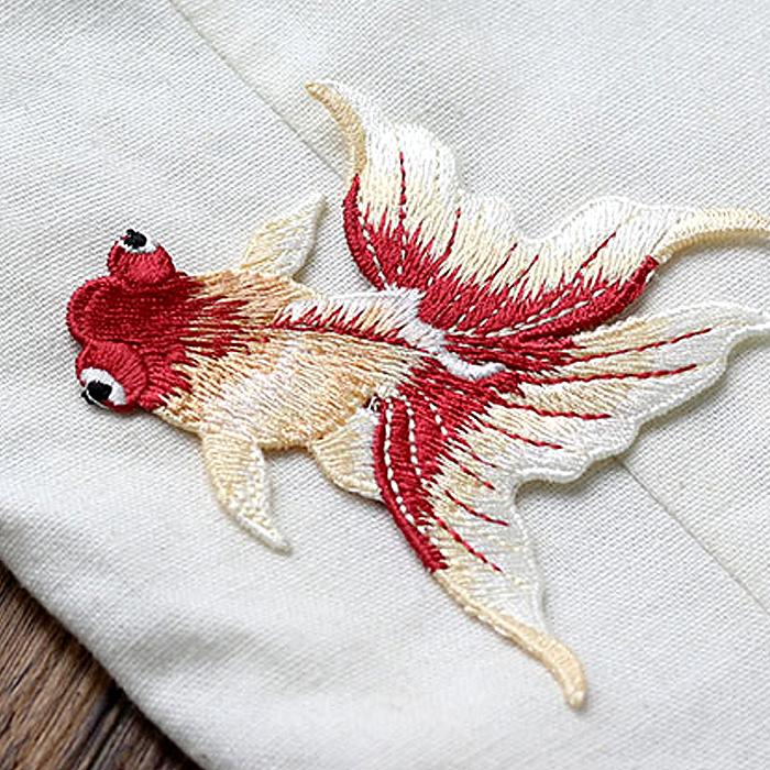 刺繍 正規品 ワッペン 1点 金魚 夏祭り アップリケ 浴衣 和服 アクセサリー制作等に 新色