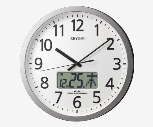 いまだけ!★ポイント最大16倍★【全国配送可】-電波時計(プログラムチャイム付き) φ350×60mm リズム時計 型番 4FN405SR19  JAN 4903456200443 aso 8-5455-11 -【医療・研究機器】