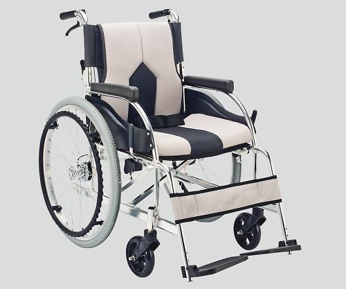 いまだけ!★ポイント最大16倍★【全国配送可】-車椅子(アルミ製・背折れタイプ) ライトグレー マキライフテック 型番KC-1LG  JAN4968501883309 aso 8-7035-03 -【医療・研究機器】