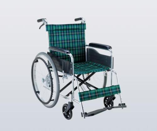 いまだけ!★最大P24倍★ 1/9-1/16【全国配送可】-車椅子(アルミ製) ナイロン(緑チェック) マキライフテック 型番EW-20GN  JAN4968501884405 aso 8-9386-11 -【医療・研究機器】