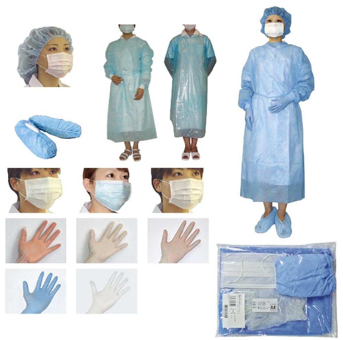 【送料無料】-感染予防対策キット(PEガウンL) FR-350BL(マスクFR-201ツキ 品番 my23-6720-2130 10入り-【MY医科器機】