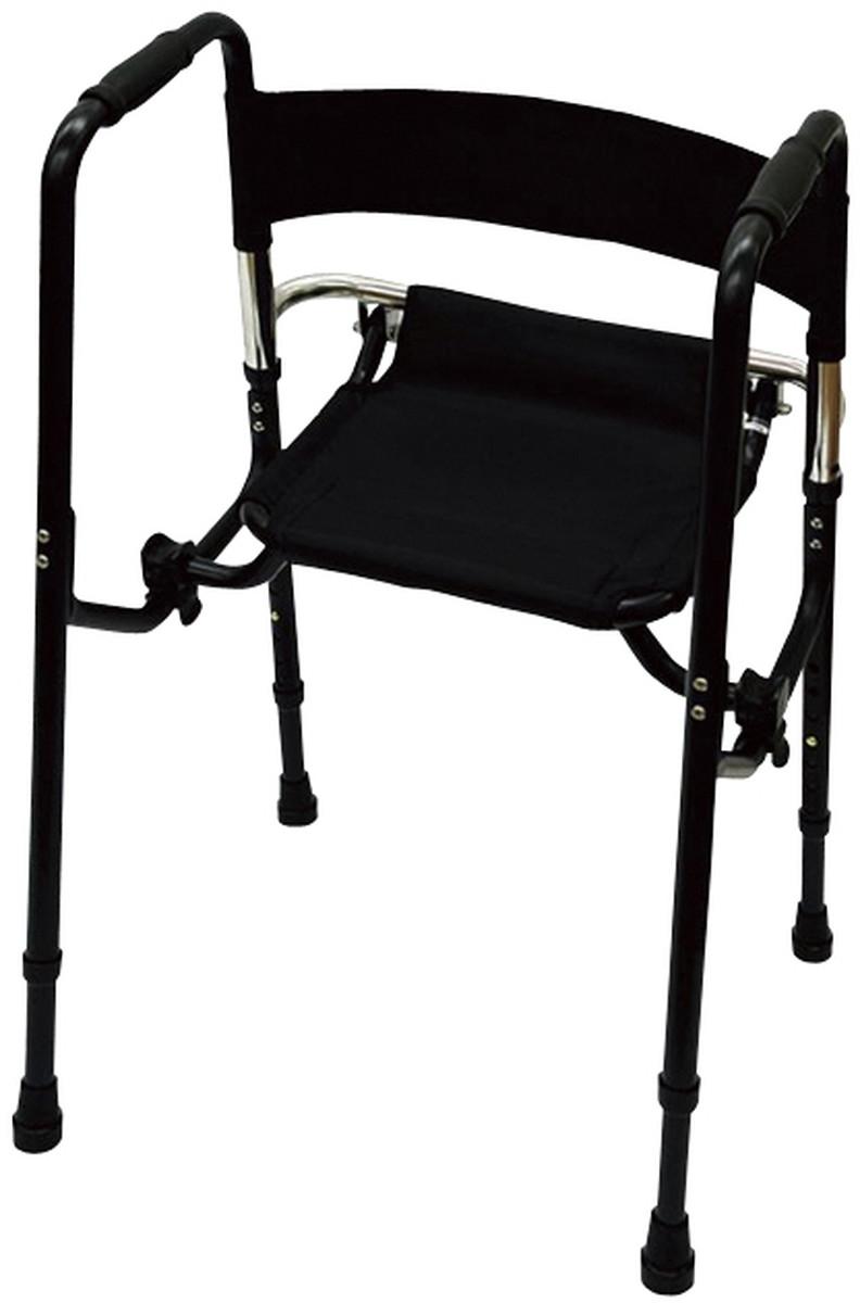 【送料無料】-歩行器Rec01(座面付)標準 REC01(ブラック) 品番 my24-6234-00-- 1入り-【MY医科器機】