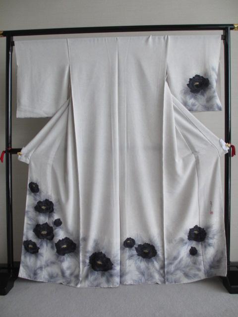 糊流し 訪問着 白地 矢崎均 展示品 絹100% 送料無料