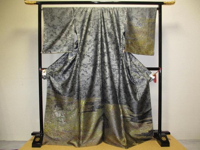 とみや織物 個性的 風神 雷神 お召し 訪問着 グレ―系  展示品 絹100% 訳あり 送料無料