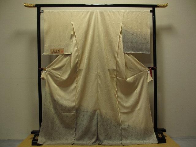 木目しぼり 訪問着 クリ―ム色系 裾暈し  展示品 絹100%  送料無料