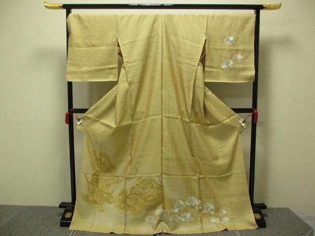 最高級品 野蚕糸 手刺繍 訪問着  獅子牡丹文様   展示品 絹100% 送料無料