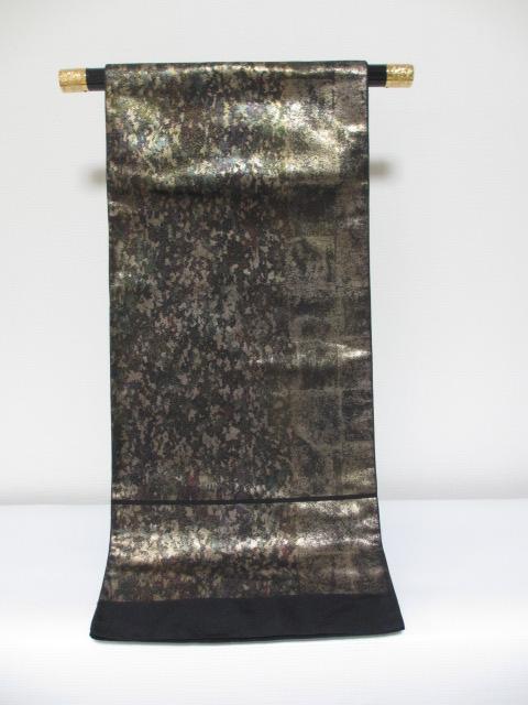 特別価格 高級 かつやま織物 お洒落 錦 よう変箔 袋帯 手織り 「展示品」*絹100%*送料無料