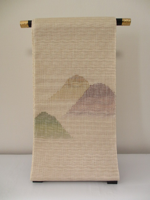 高級 博多織 織屋 にしむら お洒落 遊羅組(ゆらぎ) 袋帯 手織り 「展示品」*絹100%*送料無料