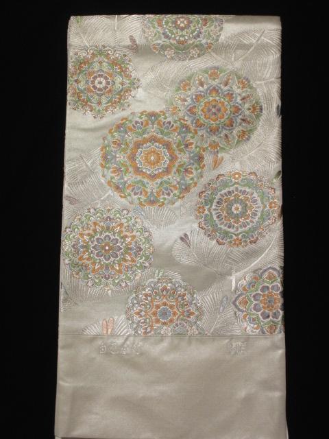 送料無料 逸品 泰生 白色重箔 流水若松華紋 最高級袋帯 新品 展示品  絹