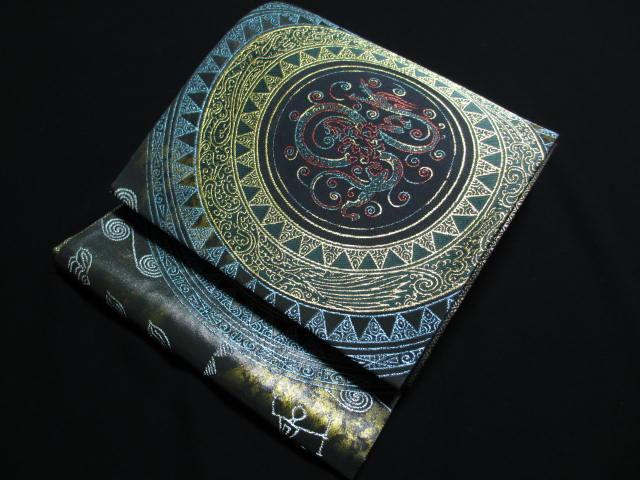 高島織物 金彩 鳥獣 雲文 同盤 袋帯 新品 絹 送料無料