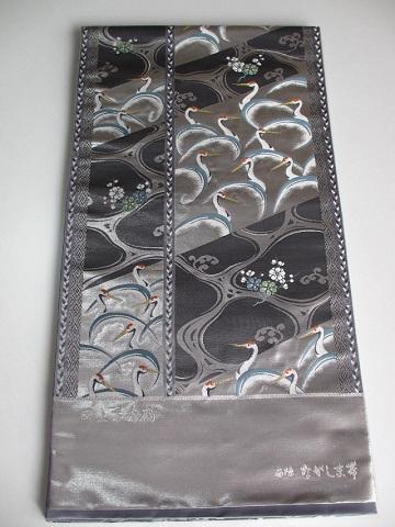 長嶋織物 逸品 献上万寿鶴 引き箔 袋帯 新品 展示品 絹100% 送料無料