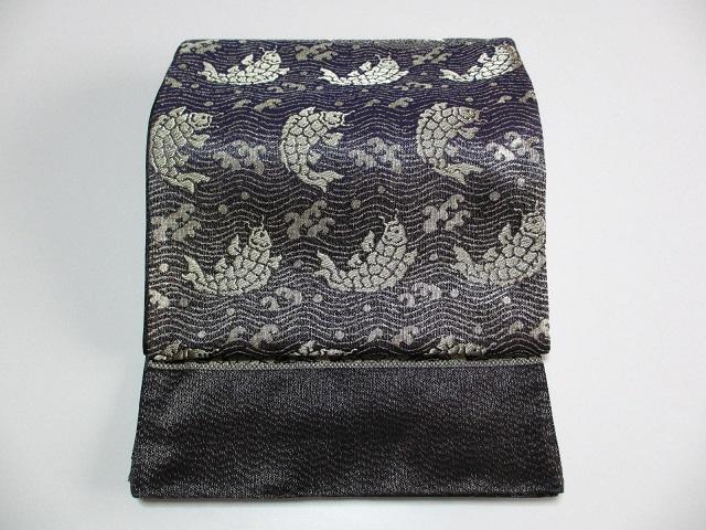 荒磯文  袋帯  黒・シルバ―色系 展示品 絹100% 送料込み