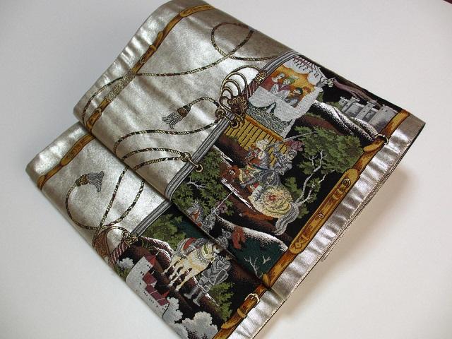本銀箔 トプカプ宮殿 個性的 お洒落 袋帯 シルバ―色系展示品 絹100% 送料込み