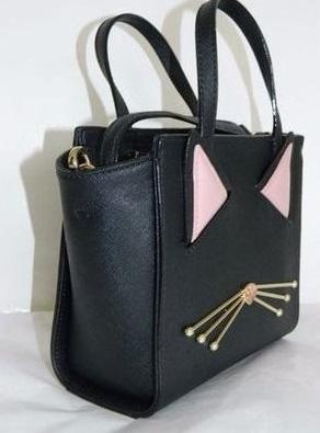 ケイトスペード WKRU4657 レディースバッグ 可愛い黒猫ちゃん Kate spade mini hayden 2wayハンドバッグ 猫顔 レザーブラック 黒