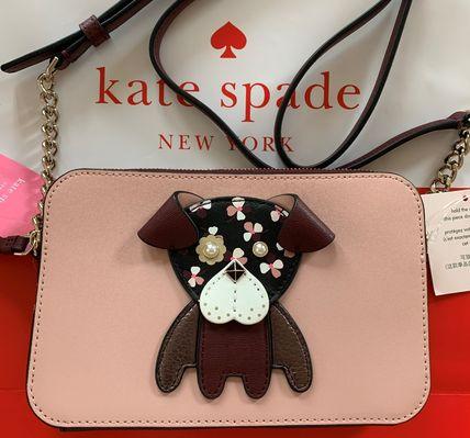 ケイトスペード レディースバッグ floral pup double zip small crossbody ワンちゃんのアップリケ 可愛い