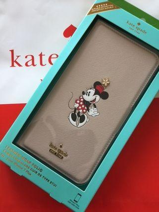 ケイトスペード Kate spade 手帳型 ミニーマウス アップリケ フォリオ アイフォーンケースXR 代引き不可【あす楽対応】