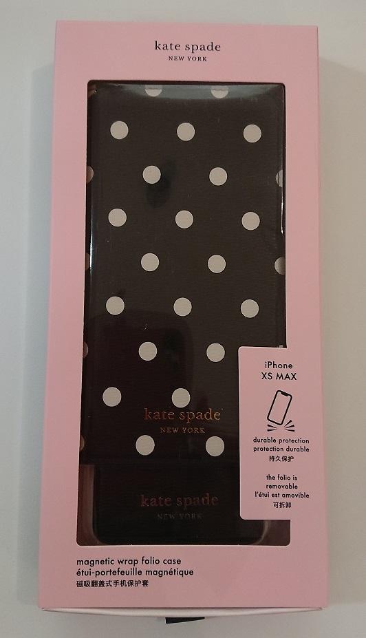 ケイトスペード Kate spade 手帳型と単品使用 ドッドが可愛い iPhone XS MAXブラック/ホワイト 代引き不可
