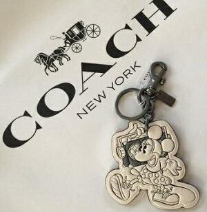 コーチ  COACH x Disneyコラボ ミニーマウス レザー キーホルダー チャーム 白【あす楽対応】