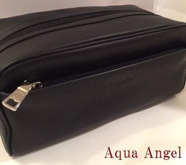 コーチ メンズポーチ COACH Toiletry Travel Kit Bag レザー ブラック 黒