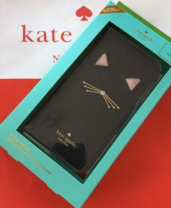 ケイトスペード Kate spade アイフォンケース X/Xs 手帳型 iphone cases キャット アップリケ フォリオ 可愛い黒猫ちゃん レザー 代引き不可【あす楽対応】SALE