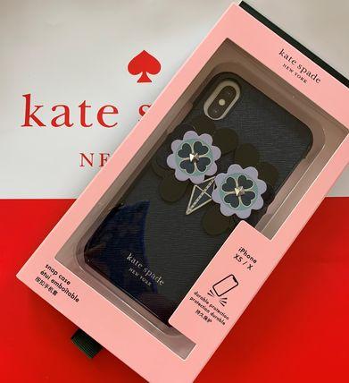 ケイトスペード Kate Spade owl applique iphone case  X/Xs ふくろうのアップリケ ブルー系 代引き不可